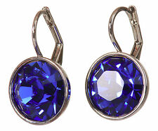 Earrings Rhodium Plated Authentic 7168a Swarovski Element Crystal Sapphire Bella