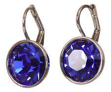 Swarovski Elements Crystal Sapphire Round Bella Pierced Earrings Rhodium 7168y