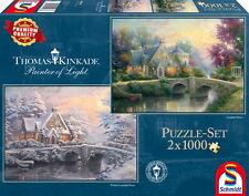 2 x 1000 Teile Schmidt Spiele Puzzle Thomas Kinkade Lamplight Manour 59468
