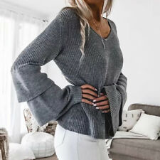 NEW Fashion Women Oversized Loose Knit Sweater Flare Sleeve Pullover Outwear