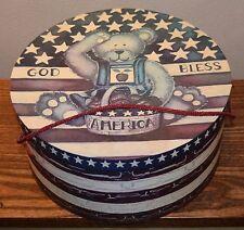 Vtg 1990's Hat Box Teddy Bear Lindy Bowman Co. God Bless America Laurie Korsgade