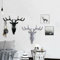 Animal Deer Stags Head Hook Wall Hanger Clothes Rack Key Holder Resin Decor