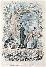 EXCURSION d'HERBORISTES au XIX° siècle - Gravure 19°s en couleur