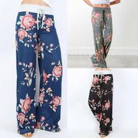 Women's Comfy Stretch Floral Print Drawstring Palazzo Wide Leg Lounge Lady Pants