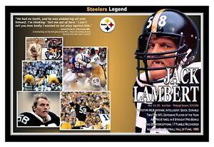 "Pittsburgh Steeler Great Middle Linebacker Jack Lambert 19""x13"" Commemorative Po"