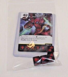 Marvel Dice Masters Deadpool * KIDPOOL * RARE Uncommon Set CUR + 4 dice