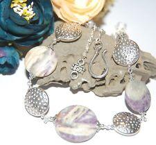 Pretty Purple SUGILITE Gemstone & Textured Coins Tibetan Silver Chain NECKLACE