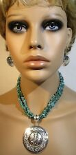 Triple strand Natural nugget turquoise Necklace & Silver tone earrings set