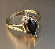 10K Yellow Gold Black Marquese Onyx Ring with Small Diamond Accents
