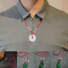 1PC Imitation Jade Necklace Pendant Amulet Jewelry Jasper Emerald Chain Gift