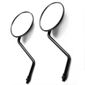 Pair L & R Round Universal Motorcycle Mirrors 10mm Thread Rear Side View Mirror