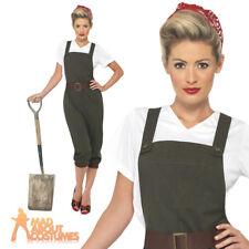 Ww2 Land Girl World War 2 Adult Womens Smiffys Fancy Dress Costume - UK 12-14