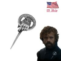 US! Game of Thrones Hand of The King Silver Plated Pin Brooch With Card Cosplay