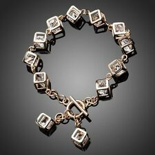 New Sparkly Clear White Zircon 18K Gold Plated Cube Charm Bracelet Gift Jewelry