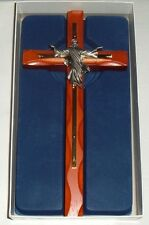 "10"" RISEN CHRIST Wood Cross w/ pewter Christ NEW / GIFT BOXED FREE SHIP Crucifix"