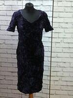 Vintage Ladies Purple Crushed Velvet Midi Dress M