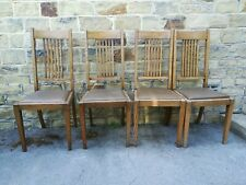 More details for arts and crafts oak chairs x 4