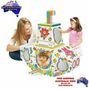 Cardboard Cubby House - Rocket Indoor Playhouse - easy set up paint and decorate
