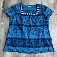 Izod XL Top Blue Aztec Print Embroidered Square Neck Short Sleeve Blouse Womens