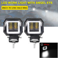2X 3in Halo Angel Eye White LED Work Light Pods Offroad Spot ATV Motorcycle SUV