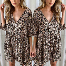 Women Leopard Print Mini Dress Sexy V Neck Button Down Half Sleeve Loose Casual