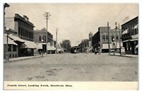 Early 1900s Fourth Street looking North, Moorhead, MN Postcard