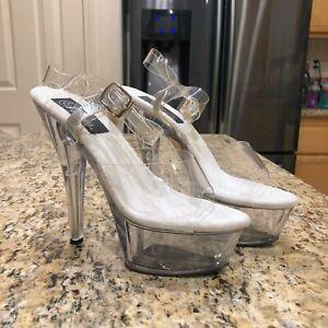 PLEASER Clear w/SIlver Strap Platform High Heel Shoes Stiletto Dancing - Size 8