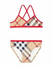 NEW Burberry Girls' Check Print Two Piece Swimsuit, Size 10Y/140cm
