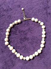 """Choker Necklace 15"""" Vintage Antique Monet Signed Faux Pearl"""