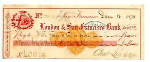 1875. London & San Francisco Revenue Bank Check  RND-1  Wells Fargo