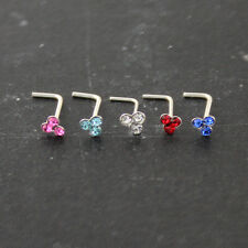 5pcs 22G 6 mm 925 Sterling Silver 4mm Jeweled Trinity L-Shape Nose Stud Piercing