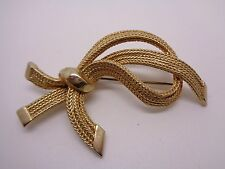 Brooch Shaped As Open Knot Vintage Gold Tone Woven Style