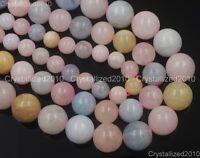 "Natural Gemstone Morganite Beryl Aquamarine Round Loose Beads 6mm 8mm 10mm 15"""