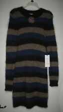 Sea New York Ladies Mohair Knit Dress Gray Black Blue Stripes Retail $429 NWT