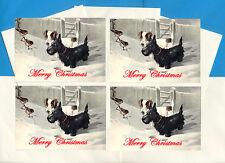 SCOTTISH TERRIER SCOTTIE SEALYHAM & ROBIN 4 DOG PRINT GREETING CHRISTMAS CARDS