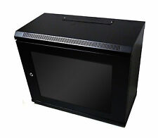 9U 450mm Black Wall Cabinet Network Data Rack For Patch Panel, PDU & LAN Switch