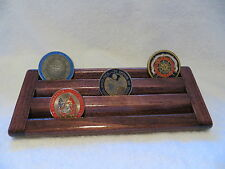 Military Challenge Coin/Chips Wood Display Holder 3 Tier->SMALL<-Dark Cherry Stn