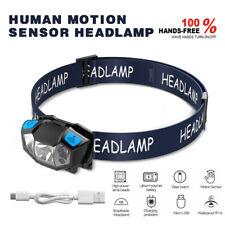 50000LM Mini LED HeadLamp Rechargeable Body Motion Sensor Head Light Flashlight