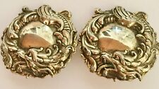 Vintage Unsigned Detailed Dragon Design Gold Tone Domed Clip On Earrings Unique!