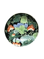 """7"""" Ceramic Vintage Bowl made in Hong Kong Bright Orange Flowers - Not for food"""