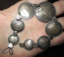 Vintage Wwii Australia Sterling Silver Coin Sweetheart Bracelet