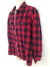 Jones New York Sport Mens L Red Buffalo Plaid Hiking Camp Zip Front Shirt Jacket