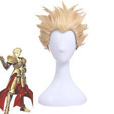 Fate Zero Stay Night FGO Gilgamesh Cosplay Wig Archer Golden Blonde Short Hair