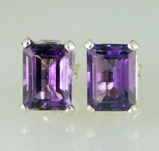 Amethyst Emerald Cut Stud Earrings Fine Dark color 925 SS Sterling Silver