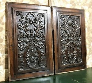 17 th green man scroll leaf carving panel Antique french architectural salvage