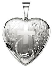 0.925 Sterling Silver Heart 12mm 2 Photo Locket with Cross Charm Pendant