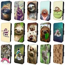SLOTH FUNNY CUTE ANIMAL FLIP PHONE CASE COVER for SAMSUNG GALAXY S5 S6 S7 S8 S9