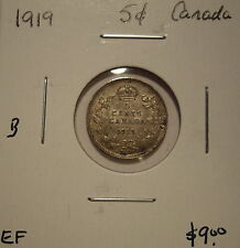 B Canada George V 1919 Silver Five Cents - EF