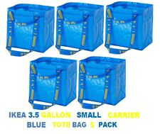 NEW IKEA 5 PACK BRATTBY SMALL 3.5 GALLON BLUE SHOPPING TOTE BAGS free shipping