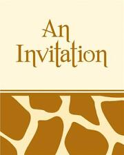 CLEARANCE Giraffe Print Party Invitations & Envelopes x 8
